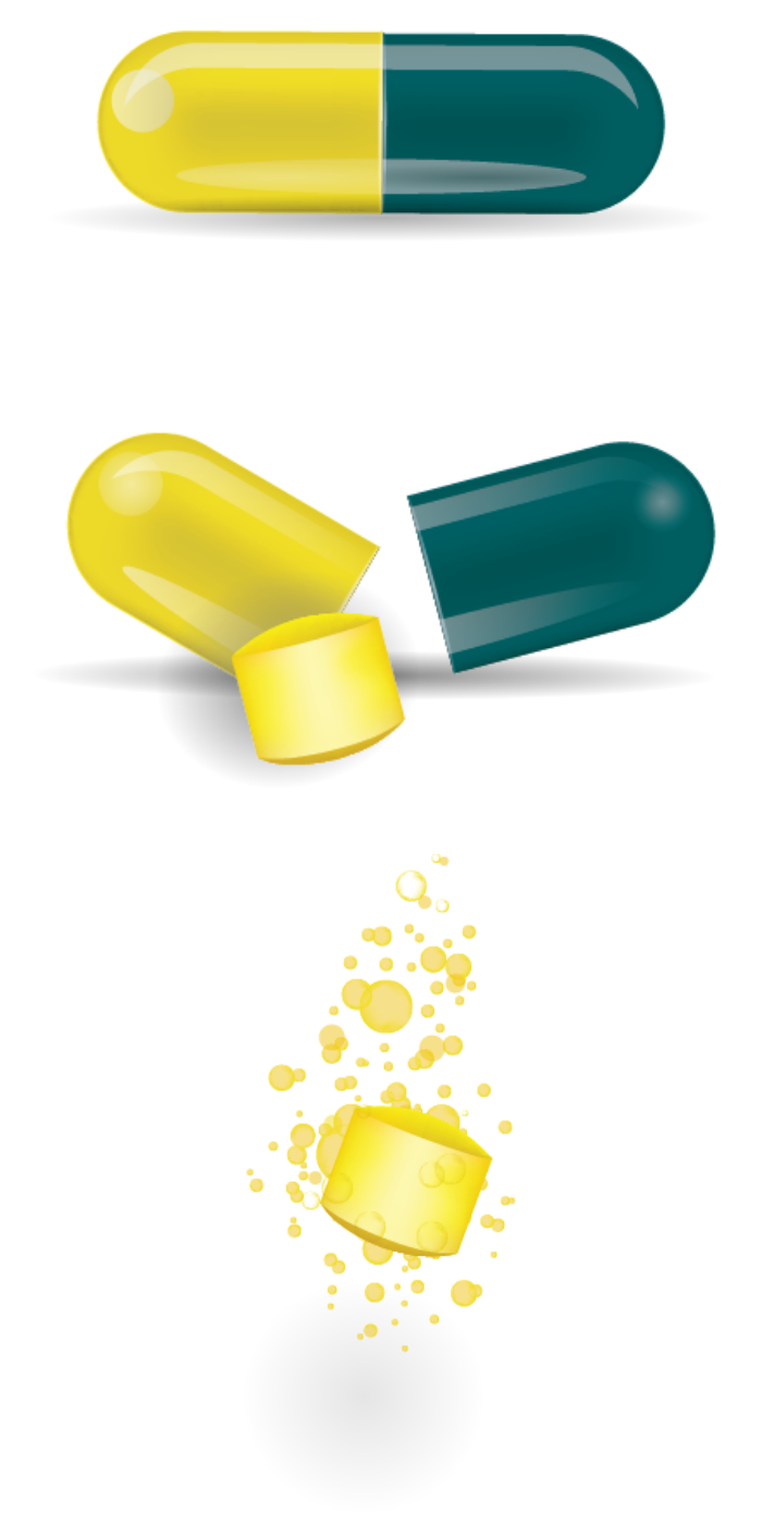 A series of three pills demonstrates Ximino extended release.